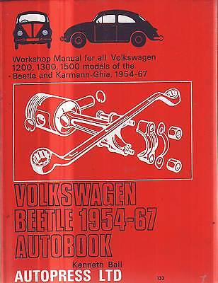 Vw Volkswagen Bug Beetle 1200 1300 1500  Workshop  Manual 1954-67