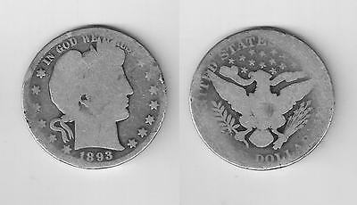 1893   Barber Half dollar in  Good   Condition -   .99 Ship