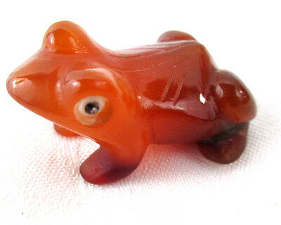 "Frog Toad Miniature Hand Carved Figurine Carnelian Agate Caramel 1.75""long"