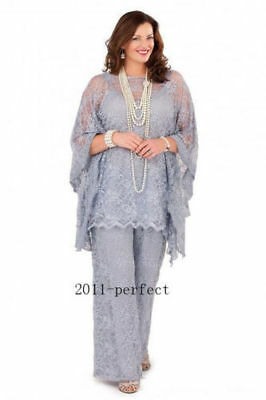 Lace Mother of the Bride Dress Pant Suits Silver Gray Women 3 Pieces Plus Size