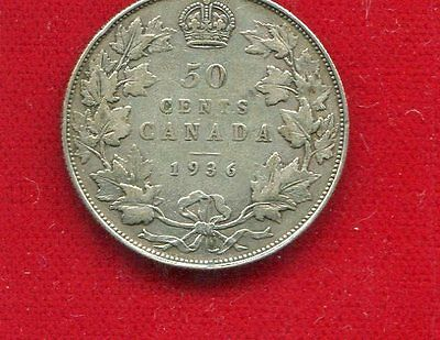 Canada Key Date 1936 King George V Silver 50 Cents Fine Condition Mintage 38,550