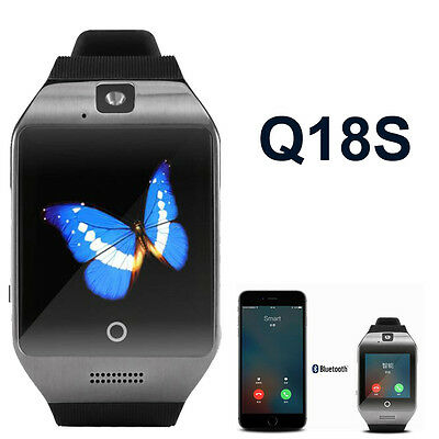 Q18S Smart Bluetooth Watch GSM Camera TF Card Wristwatch for iPhone Black