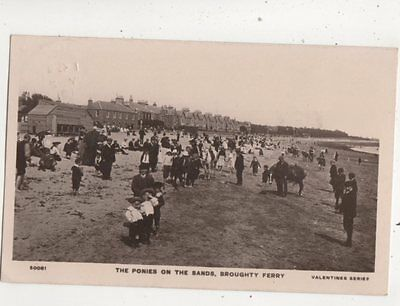 The Ponies On The Sands Broughty Ferry Angus Scotland 1910 RP Postcard 645b