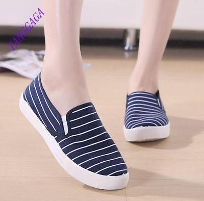 Women Casual Collegiate Canvas Student Stripe Slip On Flats Board Shoes Blue US6