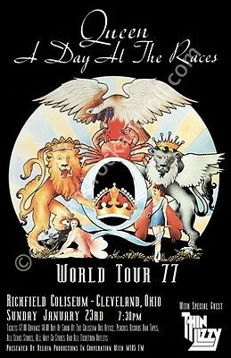 Queen / Thin Lizzy 1977 Cleveland Concert Poster