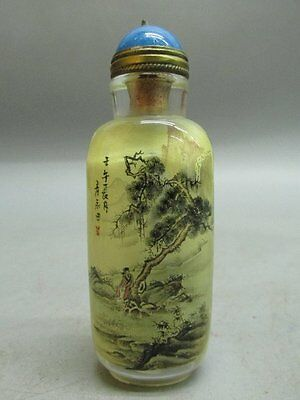 Chinese Glass Hand Inside-drawing Person Scenery / Landscape Snuff Bottle