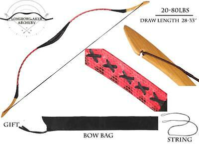 20-80lbs Hungarian bow Handmade Red Snakeskin Longbow Archery Hunting Han Bow