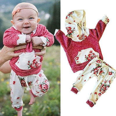 Toddler Infant Baby Girls Hooded Sweatshirt Pants 2pcs Outfits Set Tracksuit