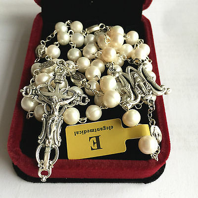 AAA 8-9mm Real Pearl Catholic Ave Maria rosary beads Italy Cross necklace box