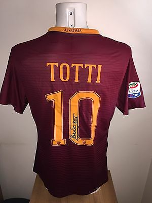 Totti As Roma 2017 Signed Match Issued Worn Shirt Maglia Indossata Futbol
