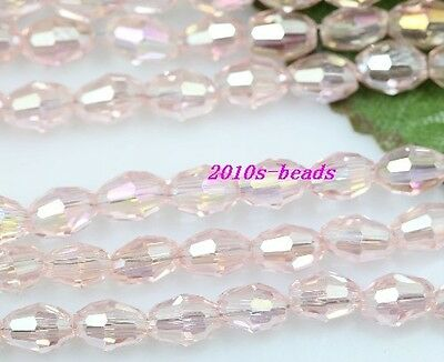 Wholesale Pretty 50pc pink AB glass crystal spacer beads 6x4mm
