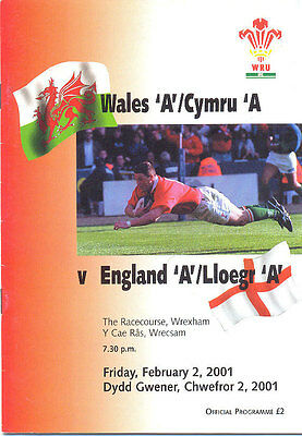 Wales A v England A 2 Feb 2001  Racecourse, Wrexham RUGBY PROGRAMME