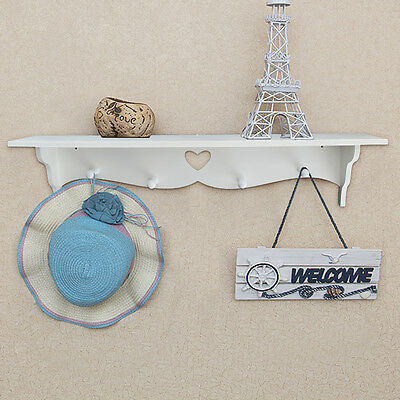Floating Wall Display Shelf Bookshelf Storage With Coat Hook Heart Shape White