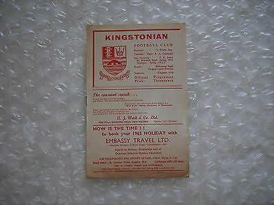 Kingstonian v Wycombe Wanderers  Tuesday 5th March 1963 IL