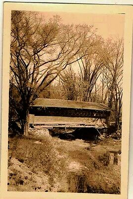 Old Vintage Antique Photograph Wonderful Old Covered Bridge in the Woods