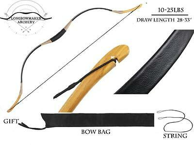 25lb Archery Black Cow Leather Longbow Junior Bow Recurve Youth Bow Children Bow