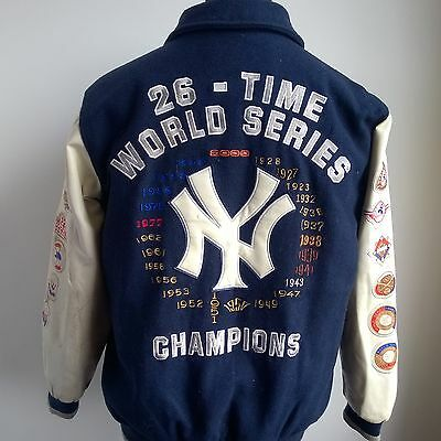 New York Yankees Varsity Jacket Mlb Baseball Shirt World Series Size Adult M