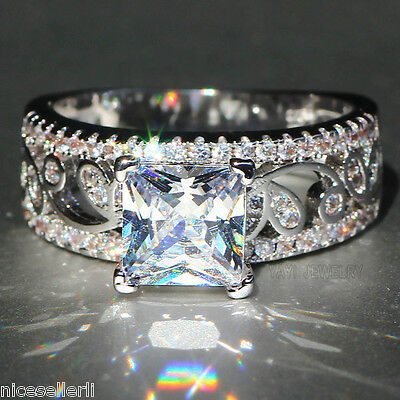 Fashion White Sapphire 925 Silver Filled Wedding Band Heart Ring Jewelry Gift