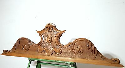 Hand Carved Wood Pediment Solid Antique French Coat Of Arms Mount Cornice Crest