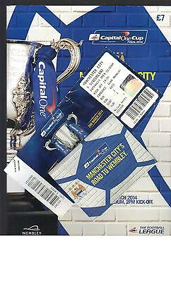 PROGRAMME TICKET & BOOKLET - MANCHESTER CITY v SUNDERLAND -2014 LEAGUE CUP FINAL
