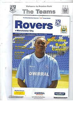 TEAMSHEET & PROGRAMME - TRANMERE ROVERS v MANCHESTER CITY