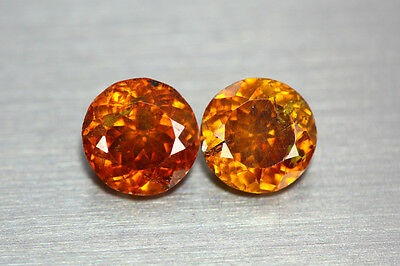 3.255 Cts AMAZING LUSTROUS NATURAL RARE UNHEATED HOT ORANGE RED SPHALERITE PAIR