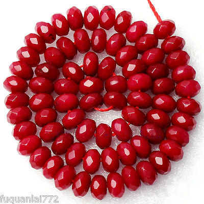 """Natural Facted 5x8mm Rondelle Shape Red Ruby Gemstone Beads Strand 15"""" AAA+"""
