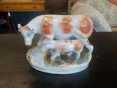 Reproduction Staffordshire Cow Ornament Mother & Calf Figurine