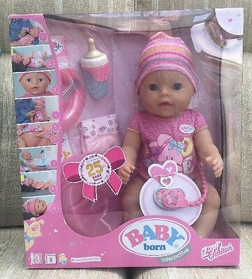 New In Box - Baby Born Interactive Doll And Accessories Zapf Creation 25 Years