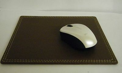 Brown Leather Mouse Mat 29x18cm Classic Vintage Stitched Mouse Pad