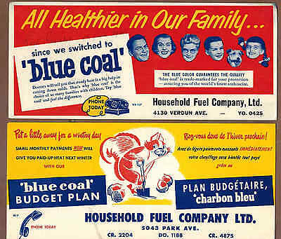 BLUE COAL, HOUSEHOLD FINANCE, QUEBEC: Group of 4 Scarce Ink Blotters (1950)