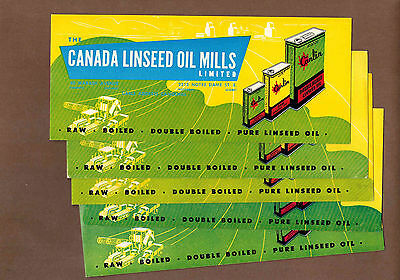 CANADA LINSEED OIL MILLS, CANLIN: Group of 5 Scarce CANADIAN Ink Blotters (1950)