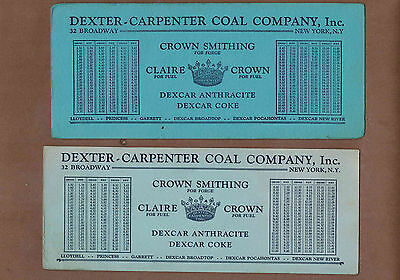 COAL, DEXCAR-CARPENTER COKE, NEW YORK: Group of 3 Scarce Ink Blotters (1930)