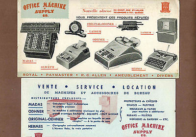 OFFICE MACHINE & SUPPLY COMPANY: Group of 4 Scarce CANADIAN Ink Blotters (1950)
