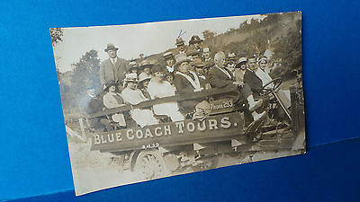 Jersey Channel Islands Postcard Blue Coach Tours Carriage Ride 1920? Poor Condit