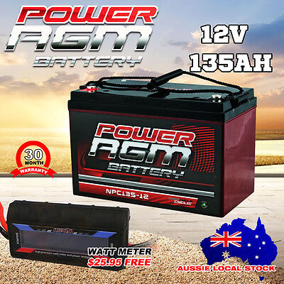 12V 135Ah Amp Hour Battery Agm Sla  Deep Cycle Dual Fridge + Volt Watt Meter