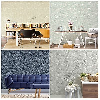 Crown Archives Woodland Wallpaper Duck Egg Blue Grey Natural Feature Wall Decor