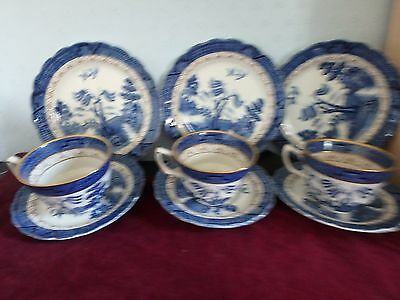 """Booths English Blue And White China """"real Old Willow""""  Nine Piece Tea Set"""