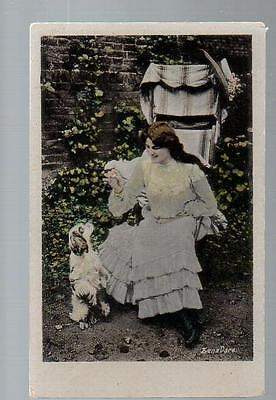 Zena Dare With Dog Real Photo Vintage Postcard Early 1900s