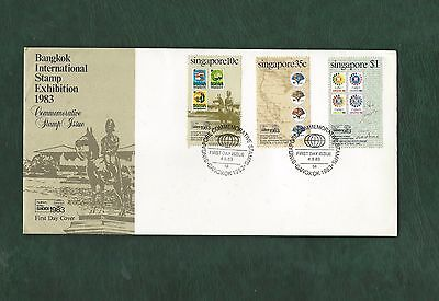 Singapore 1983 Bangkok Stampex set on illustrated First Day Cover FDC