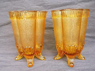 268 / Pair Of Antique Amber English Sowerby Pressed Glass Vases On Four Legs