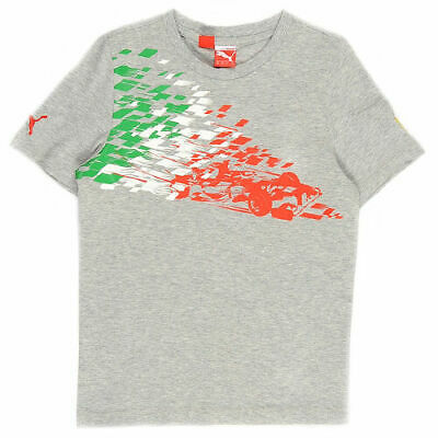 Puma SF Ferrari Kids Boys Graphic Crew Neck Tee Top T-Shirt Grey 761278 03 DD21
