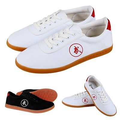 Hot Men Tai Chi Shoes Women Kung Fu Lace-Up Footwear Adult Comfy Canvas Shoes