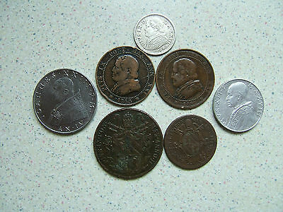Seven (7)  Vatican / Papal States Coins... Very Fair Condition.