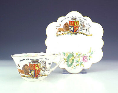 Antique Foley Wileman China - Victoria Commemorative Cabinet Cup & Saucer