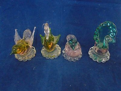 Set of Four Glass Birds