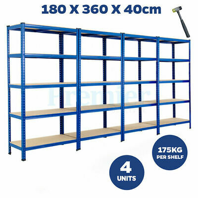 Metal Racking 4 Bay 5 Tier Shelving Industrial Garage Warehouse Storage Shelf