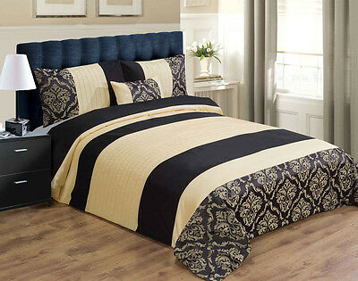 Luxury Duvet Cover / Set Inc Pillowcases & Cushion - Black & Gold - Size Double