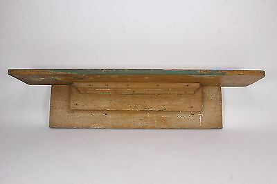 Antique Primitive Wall/ Mantle Shelf Crackled Beige Green Chippy Paint Salvaged