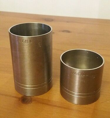 VINTAGE BONZER 1/3 GILL and 1/6 gill STAINLESS SPIRIT MEASURE x 2